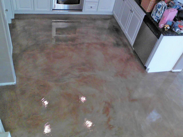 Stained Concrete Driveway Gray